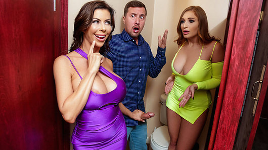 Single MILF Alexis Fawx goes out to a club looking for some cock to take home to suck and fuck. Only problem is that she's disappointed with the fact that the night's wrapping up and she hasn't found anyone to bang! Alexis goes off to the women's room to freshen up. That's when she can't help but overhear a couple of amateurs having trouble in one of the stalls! Alexis can't help but laugh at Skylar Snow's inability to take Jessy Jones' big dick deep inside her tight ass! Alexis decides to burst in on these two, who could clearly use her experience! Alexis teaches Skylar how to suck and fuck big cock like a pro! Luckily for Jessy, this is his lucky night as he gets to fuck two smoking hot chicks' pussy and asses! So remember, there's nothing wrong with getting a little help from a MILF now and then, especially when its an experienced club cougar who joins the party!
