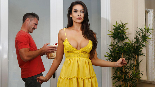 Charles Dera has just moved into his new home, and receives a visit from his new neighbor, Katana Kombat. Katana comes bearing gifts, but it's not your typical welcome basket! While Charles looks through the items, which include whipped cream and massage oil,  Katana strips down to her nylons, stunning Charles when he sees her gorgeous tits! Charles in in for the warmest welcome he could have ever hoped for! (Video duration: 45 min)