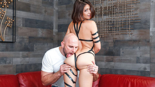 Wow Izzy Bell is so hot, there's just something about her. She's quirky, fun, has a great spirit and that ass though! The tape suits her so well, she should just add this to her wardrobe. J Mac looks like he loved peeling tape off of Izzy, it's like unwrapping a gift, a tight, sexy gift.