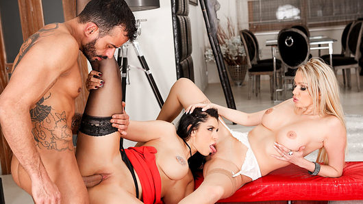 Busty French brunette Anissa Kate seduces Chad Rockwell and Choky Ice -- two implacable hired studs that have been forbidden to move! The men fuck the naturally voluptuous beauty in a nasty anal/double penetration threesome, and they deliver a dual cum facial. Meanwhile, blonde Amber Jayne and her girlfriend, Kira Queen, watch, inspiring them to give well-hung host Vinny Star a blowjob. Vinny nails the buxom tramps as they eat pussy and rim each other's asshole. Finally, he splatters their tongues with splooge.