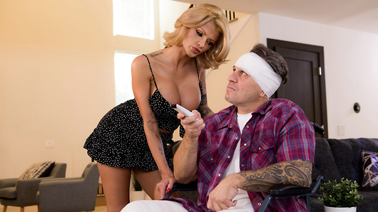 Joslyn James is just too much for her husband to handle! After she fucks her husband too hard, breaking his pelvis, nurse Keiran Lee is sent by their insurance provider to check up on Joslyn's now-wheelchair bound hubby. Joslyn likes what she sees when she greets Keiran, and it doesn't take her long before she's showing off her big tits to find out if Keiran likes what he sees too! Once she rolls her husband's wheelchair away, it's time for Joslyn and Keiran to play! (Video duration: 32 min)