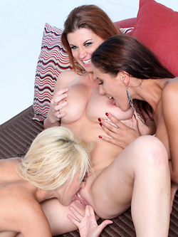 Sara Stone in a girly threesome with Breanne Benson and Angel Dark