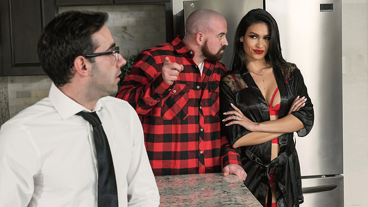 Katana Kombat wants to spend some alone time with her husband but he's too busy renovating the house. Lucky for her, a young stud Jake Adams has knocked on her door preaching abstinence. She invites him in and proceeds to challenge his beliefs, shaking him to his core. How does he know that sex is bad if he's never been fucked? Well, Katana is just the person to show him the light - by deepthroating his cock and riding his hard cock till he shoots his load all over her face! (Video duration: 32 min)