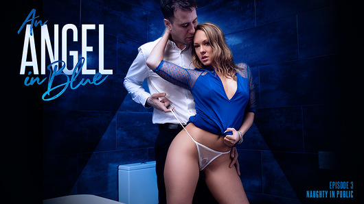 Blue Angel and Kai Taylor are heating up the dance floor as they press their bodies close, exchanging inviting looks and fleeting caresses. The pulsing lights drive the desire coursing through them, and it isn't long before Blue takes Kai's hand to steal him away to somewhere more private.They burst through a bathroom door, already hot and heavy as they check that they're really alone. The fear of being caught only fuels their excitement as they passionately kiss and fondle each other, hungry for more. Even though they're in public, Blue hikes up her dress and pulls down her panties, ready to take Kai's cock in ALL her holes.