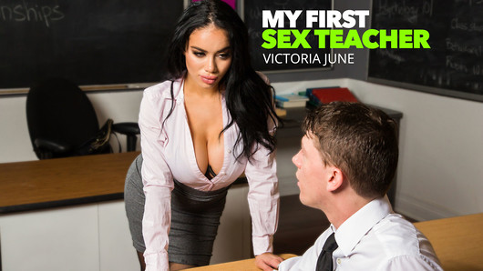 When Rion seeks the guidance of his sexuality professor, he gets more than he could have ever dreamed of. Victoria June gives him hands on experience in properly handling a female in bed. She guides him all over the classroom until he's ready to pop on her face. (Video duration: 39 min)