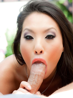 Asa Akira empties his cock over her firm tits