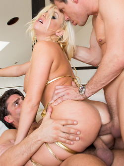 Britney Amber takes full advantage of two cocks provided for her pleasure