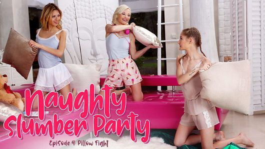 Tiffany Tatum's parents are away on their honeymoon, so she and her friends Zazie Skymm and Rebecca Volpetti are all alone for their slumber party. And what does a trio of wild teens get up to when mom and dad are gone? A pillow fight of course!The girls giggle and scream gleefully as they smack each other's tight little bodies with pillows. Tiffany thinks she's got home-field advantage, but Zazie's speed and Rebecca's stamina give Tiffany a run for her money! The battle winds down and the girls collapse onto each other in a smoking hot cuddle-puddle as they drop the pillows, tickling and teasing each other. Her heart racing from the pillow fight, Tiffany's adrenaline gives her the courage to do something she never would have been brave enough to try a few minutes ago. She strips Rebecca's shirt off and squeezes her perky titties, sucking on her perfect little nipples. Zazie wants in on the fun too and pulls her beautiful tits out as the other two girls suck on them, licking her hard nipples as Zazie gasps with pleasure.Tiffany bends Rebecca over, burying her face in her wet pussy while Zazie kisses Rebecca. These girls already have each other soaking wet, and they haven't even broken out the toys yet!This slumber party may have started out with a pillow fight, but these cuties sure aren't fighting now!
