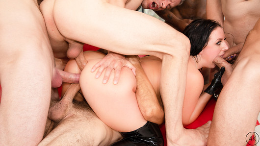 Angela White's BIGGEST GANGBANG EVER! Angela shows her Darkside when she pulls out all the stops in this 11 guy gangbang with double penetration, double vag, double anal and TRIPLE PENETRATION! She's having a dinner party but she's the only thing on the menu for these hungry studs. Dressed in a black latex dress, which matching jacket, thigh high boots, and gloves, Angela makes her way to the dinner table and crawls on top before spreading her legs to show that she's not wearing any underwear. They pop some champagne and toast to Angela's Darkside before the guys start to have their way with her, sucking her tits, fingering her pussy and making out with her at the same time. The guys start pulling their cocks out, and Angela knows exactly what to do, she leans over the table and starts sucking each and every one of them while they continue to have their way with her body. Markus reaches in and makes Angela squirt like a fountain all over the table cloth, then she gets back to sucking all the dicks she can while they start to penetrate her pussy and asshole with their hard cocks. Angela's stuffed up AIR TIGHT as she tells them to use all her holes however they want and they continue the onslaught from the endless supply of dicks. They move to the living room where Angela gets on her knees so she can suck every cock again before getting on the couch and getting TWO COCKS IN HER ASS at the same time and another one in her pussy! They even squeeze multiple cocks in Angela's mouth at the same time too! Angela gets back on her knees as the guys start to shoot their loads down her throat and all over her face and body. She covers her hand in cum and plays with pussy using their cum as lube before Markus, once again, fingers her until she squirts all over the place. Can you handle Angela Whites Darkside? (153 photos, 59 min of video)
