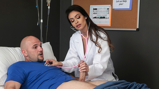 JMac has been battling a bad case of insomnia  so he visits Dr. Katana Kombat, a specialist in the field.  When JMac confesses that the only thing that had worked for him in the past was jerking off before bed, Katana takes a very hands on approach to treating her new patient. Katana, however, is willing to go the extra mile by offering up her pussy to really take care of him and make sure he gets some much needed rest! (Video duration: 38 min)