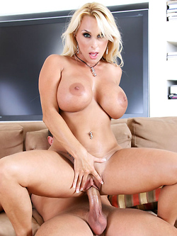 Holly Halston gets jizzed all over her juicy melons