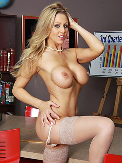 Julia Ann wears special vibrating panties in the office