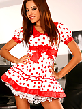 Anita Pearl strips off her polka dot dress in the office