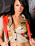 Alektra Blue scout master strips naked from her troop uniform