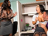 Asa Akira loves getting a little office nookie from her co-worker Keiran, and she doesn't care who sees, no matter how many times their boss Ms. Diamond Jackson warns them. When she catches Asa with her tits out, it's the last straw. These two have been turning her on all day, it's time to get some of that cock for herself!