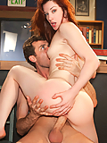 Stoya passionately sucking and fucking his hard cock