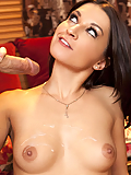 Ann Marie milks his cock dry in the living room