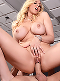 Julia Ann fucks her son's boss in his office