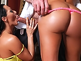 The one thing better than sinking your teeth into a juicy bubble butt, is having two oiled-up onion booties right in your face. Hotties Franceska Jaimes and Sandra Romain spend a delicious afternoon massaging oil into each other's asses. When Jay arrives to add his big dick to the fun, the gals beg him to first spread open their cheeks and drive a horny tongue right up the middle.