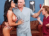 Romi Rain is an oldschool kind of nurse. She believes in doing whatever it takes in order to make the hospital floor function like a well-lubed machine. When she discovers Doctor Sins is really feeling stressed, she takes him into the break room to relax with a little personal attention to his cock. She plays the radio and strips off to show her big fake tits, then jumps on and rides him on the couch.