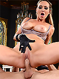 Abbey Brooks sucks and fucks the butler's huge cock