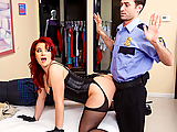 Only a really dedicated fuck-slut would sneak into a mattress store after dark hoping to get a piece of the security guard's dick. When James spots Sarah Blake on the security cameras putting on a little show, he comes out of his office to take a closer look. When he spots this hot slut straddling the bed in the smallest lingerie you can imagine, he throws his job away just for a chance to go balls deep in Sarah's luscious shaved pussy.