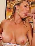 Brenda James is not afraid to use her massive tits and wet pussy