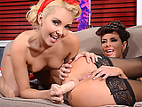 Veronica Avluv and Aaliyah Love are the two most popular pinup girls in the whole world. When they get double booked for a photo shoot on the same day, dirty diva Veronica refuses to work with sexy little upstart Aaliyah, and things start to get heated quick. Two two start arguing, and Veronica bends Aaliyah over her knee to give her a good spanking! When that doesn't settle the argument, they pull out some nice toys to shove in their wet pussies and tight little assholes! Finally, Aaliyah puts on a strap-on to make Veronica's juicy pussy squirt like a fountain!