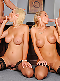 Nicole Aniston and Lexi Swallow share cocks in the conference room
