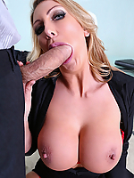 Leigh Darby sucks and fucks her assistant's huge dick