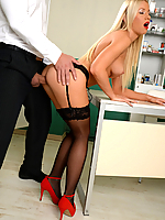 Naughty nurse Kiara Lord fucks the doctor in his office