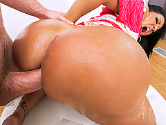 When Kiara Mia decided she finally wanted to take a fat cock in her ass, she called us. We sent over Jordan Ash, who's got the kind of huge cock that Kiara craves, and knows exactly how to treat a nice juicy booty like hers. He oiled up Kiara's thick ass and then got her pussy dripping by finger fucking both her tight little holes until she was ready for the dick. Jordan started her off slowly, making Kiara's big tits bounce as she rode her way to one orgasm after another. Finally, Kiara got on her knees and sucked all the cum right out of Jordan's dick, capping off her anal adventure with a sweet facial cumshot.