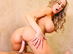 Brandi Love gets home from work and catches her son's friend in the shower. She starts to have a conversation with him while she's getting herself undressed. After she's completely naked, she lets Seth know that her son won't be back for at least an hour, and gets into the shower with him. Seth is a little embarrassed because she caught him stroking his junk. Brandi then offers to use her hands, as she drops down to her knees. Seth gives her the obligatory what about your son, but deep down inside, he knows having a chance to fuck Brandi is like a dream come true.