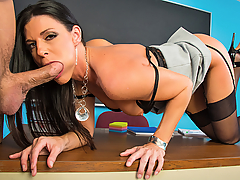 India Summer has a problem with her student, Bill. He's always getting in trouble. India thinks she knows the problem, Bill just has to much testosterone. Being the great teacher she is, India is willing to give him a hand... mouth, and pussy. India fucks Bill in order to help release all that testosterone he has built up.