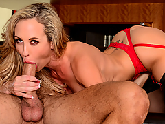 Brandi Love has been going to Danny's restaurant quite often, but she never had the courage to ask him out until today. She gets him onto the couch and spills the beans about how she really feels about him. Danny doesn't know what to say and Brandi knows exactly what to do. She's been waiting long enough to jam his cock down her throat.