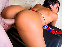 Luna Star comes back to Naughty America and this time it's to show us her best ASS-et. She bounces and shakes that beautiful brown ass of hers before taking a hot fucking from Brick Danger.