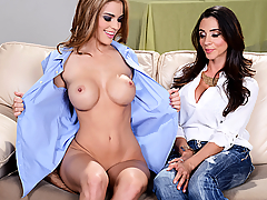 Ryan Ryans crashed at her boyfriend's place after an all-night fuck session, but when she walks out of the room wearing nothing but her boyfriend's shirt, she's shocked to run into his mom, Ariella Ferrera! Ariella doesn't approve of the busty slut dating her son, but as soon as she sees Ryan's tight body, she starts to reconsider. Sensing an opportunity, Ryan seduces the busty MILF, sucking on her titties until she can hardly contain herself. Ariella eats Ryan's wet pussy and tight little asshole until the teen slut cums hard. Ryan returns the favor, flipping Ariella over and working her wet pussy until she has an intense, leg-shaking orgasm. The busty babes scissor each other until they cum so hard they collapse, earning Ryan a permanent welcome at the Ferrera household.