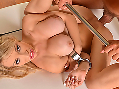 Chessie Kay from the United Kingdom has an extreme sex encounter with Cristian in our newest roleplay. Entering his apartment, she is introduced to his array of bondage gear. Then up comes her dress so her cheeks can be smacked, but before the spanking can get really serious, her wrists must be cuffed. Then Cristian gives her bottom a ruthless warming. Next it's time for Chessie to worship her new master's cock as this fetish XXX video ramps up the action. After this, a spreader bar is attached to her ankles so that she'll be in the perfect position to be well-fucked. Getting Chessie down on her knees, Cristian then uses a riding crop on her shaved pussy before fucking her spoon-style and from above. Remember, that spreader bar keeps her legs humiliatingly open and under Cristian's control at all times! To show his utter mastery of her, he finally cums on her mouth, and then rubs the load into her tongue with the edge of his riding crop as this Full HD BDSM epic comes to an intense and creamy finish.