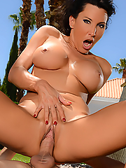 Lezley Zen devours his huge stick on the golf course