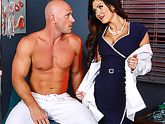 Ace reporter Johnny Sins has been trapped inside Nutley's Asylum for longer than he can recall, and he's starting to lose it. Every day, Nutley's naughty nymphos come find him and have their way with him, and he's worried about the effect it might be having on his fragile psyche. His check-up with Dr. Kendall Karson is his last hope, his final shot at freedom, and he does his best to convince the busty physician that he's not crazy. Unfortunately for Johnny, Kendall is in on the crazy carnal conspiracy, and the only thing she's interested in is his fat cock! Kendall sucks Johnny's cock, her ruby red lips working the shaft as Johnny gets harder and harder. He eats her tight pussy until she's dripping wet, fucks her hard, and then busts a nut all over her pretty face! But the question is, will the freshly satiated Dr. Karson finally be able to get him out of Nutley's Asylum?
