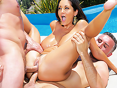 Ava Addams doesn't need an excuse to peel her bikini off and get naked outside in her backyard. Feeling the hot sun on her big, bouncy breasts as she splashes in her pool, and knowing any of her neighbors could be watching her sunbathe outdoors, always gets this milf so turned on. When her fuckbuddy turned up in her backyard ready to bone, Ava jumped on that cock like the greedy nympho she is. After deepthroating all of Keiran Lee's cock, she titfucked him between her massive jugs. Feeling particulary horny, Ava let him split her ass in two with a hard anal fuck. When another guy showed up, Ava opened her sweet holes so these cocksmen could double penetrate her, stretching out her pussy and asshole at the same time.