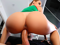 Erica Fontes is traveling the world, surfing couches and sucking cocks. Her latest conquest is Pablo Ferrari, who can hardly believe his luck when he sees the sexy blonde slut show up at his door. She sets herself up on his couch and starts rubbing her titties, moaning with pleasure as Pablo's cock gets rock hard. She sucks his big dick and then rides it, taking Pablo's dick deep in her tight pussy in every position. Erica takes that big dick and titty fucks it until Pablo blows a huge cumshot all over her big fake tits!