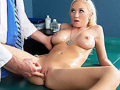A little discomfort in her knee brought Madison Scott to the doctor's office for a routine visit. It didn't take long for Madison's fit petite body to make the doctor horny as hell. After encouraging his new patient to strip down and lay down on his table, Jordan broke out the oil and started relieving Madison's tension with a massage to her legs and ass. From there, Jordan rubbed oil onto Madison's big fake tits, and spent extra time playing with her nipples. After oiling her body up to a wet and wild shine, Jordan whipped out his cock for that horny slut to suck on. Then he nailed Madison's tight pussy on the table in every position, before blowing a fat load on her face.