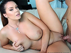 We invite you to take a trip with the lovely Alison Tyler and her big bon bons. From her cute face to her plump ass, we love us some Alison from top to bottom. We waste no time with her and get all her clothes off immediately. When we go to work, the fans get all the rewards. Alison loves to please her man and goes right to work. The way she sucks dick is amazing, and as soon as she slips the cock inside of her, the fun truly starts. She rides it, glides it and slip and slides it so fucking well, it's hard to not stare.