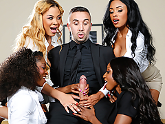 Leave it to the four bosses interviewing Keiran Lee for a job today to toy with him in the boardroom. Instead of looking at his CV or work experience, these horny ebony nymphos wanted a piece of his big fat cock. Feast your eyes on Jasmine Webb, Anya Ivy, Diamond Jackson, and Jade Aspen, as they tested out what really matters in their prospective hire... his sexual prowess! While Keiran was stretching out the pussies and throats of these lusty ladies, watch how these nymphos got each other off with hot lesbian pussy-eating, fingering, and facesitting in their super-nasty office reverse gangbang.