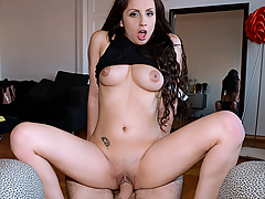 We got this video of sexy amateur Kerry Raven getting naughty after her graduation ceremony. To celebrate her big day, this dude offered her a big payday to suck his big cock. She wasted no time, deepthroating that dick and then riding it hard!