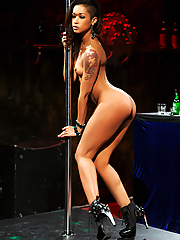 Skin Diamond exotic dancer masturbating by the stripper pole