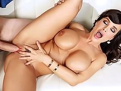 When Lisa Ann overhears some amateur slut trying to deepthroat Danny D's monster cock in the women's room, she can't help but stop to listen. The true fellatio master that she is, Lisa can't handle it when the silly skank says that Danny's cock is too big, and kicks her out so she can have that huge dick all to herself! Lisa gives Danny a masterful blowjob and then lets him jug-fuck her big tits until her pussy is dripping wet. Lisa rides that massive cock all the way to a huge monster cumshot that soaks her from her face all the way down to her pretty MILF pussy!