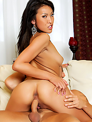 Jayden Lee rides his hard cock on the white couch
