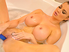 There's nothing like a candlelit bath to make a girl feel very sensual, and to get her admirers feeling rock-hard-horny! So today, Jasmine Jae relaxes in the suds while we watch. She likes to have a man sit attentively, naked and erect, while she bathes in front of him, and he's not allowed to touch his cock until she gives the word... So indulge this delectable fantasy as the curvaceous brunette Brit lets the water and soap shimmer on her curvy body, as she caresses and parts the pink petals of her pierced pussy, hefts and squeezes her boobs, and slides her finger between her soapy butt crack... Jasmine takes out her toy, to tantalize us, to show us how far it can go, and to remind us she'll be needing something stiff and deep soon enough... so just imagine sitting tub-side until she finally beckons you to get in and bang her silly doggie-style right there!